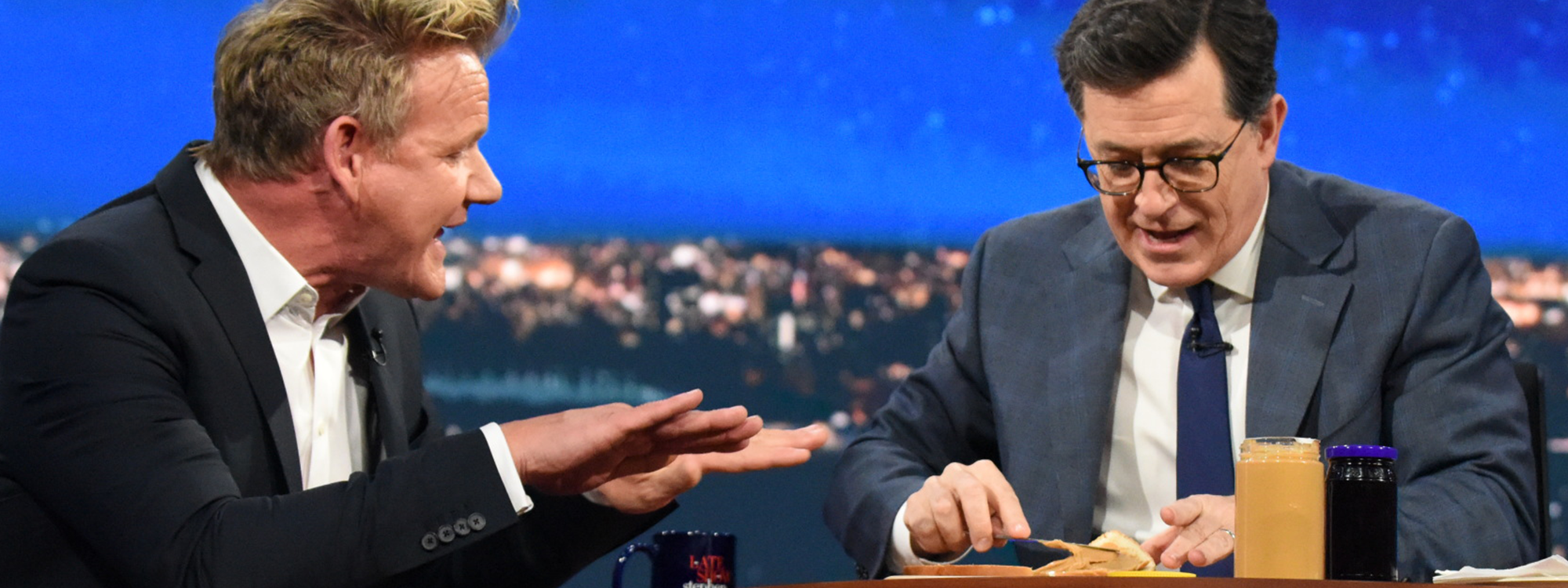 Colbert Prepares PBJ Sandwich for Gordon Ramsey